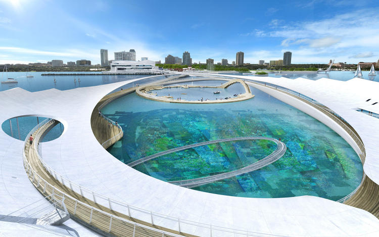 A massive proposal to turn a florida pier into a floating for Architecture companies in florida