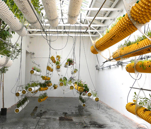 <p>The Madrid-based architects have installed a series of hanging &quot;air pots,&quot; which aerate root systems more efficiently through a perforated surface.</p>
