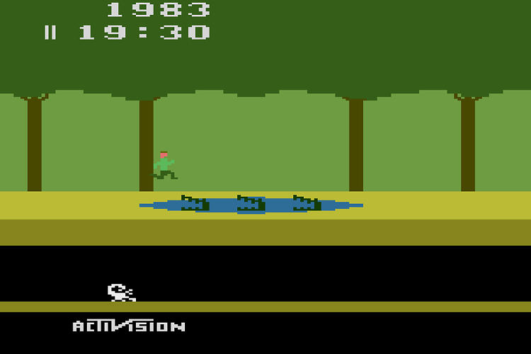 <p>Pitfall! Designed by David Crane, Atari VCS, 1982.</p>