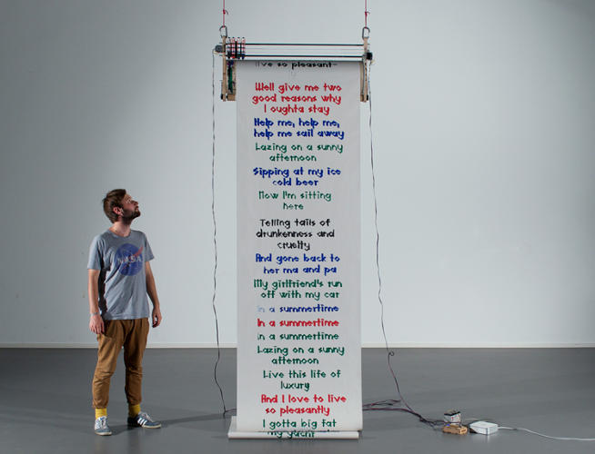 <p>Thibault Brevet's <em>Grand-Central</em> is a home-made plotter that prints messages submitted online.</p>