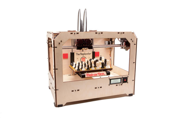 <p><strong>Makerbot Replicator</strong><br /> <em><a href=&quot;http://www.makerbot.com/&quot; target=&quot;_blank&quot;>MakerBot Industries</a></em></p>