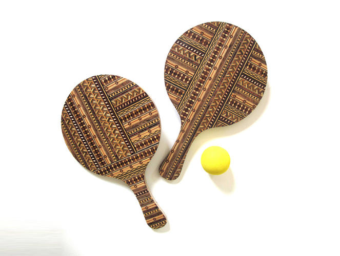 <p>These ping-pong paddles feature elaborate marquetry and were part of a larger &quot;Urban Picnic&quot; project, in which designer Gareth Neal installed picnic tables, benches, and other leisurely accoutrements around East London.</p>