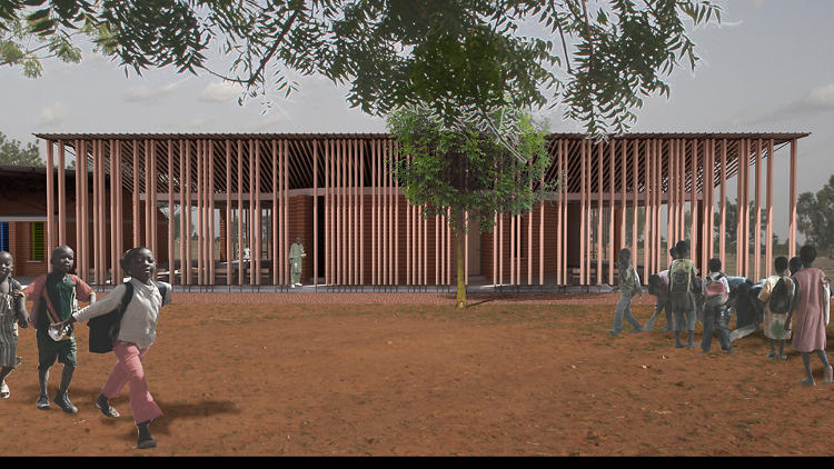 <p>After building a school in Gando, Diébédo Francis Kéré erected a library next door. A rectangular area around the library is enclosed by a façade of columns made of eucalyptus, usually considered a weed.</p>