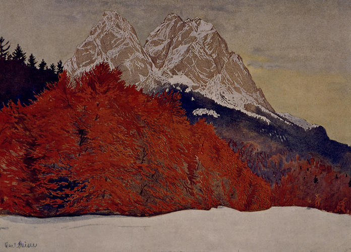 <p>Karl Reiser depicts Waxenstein, a mountain in Bavaria, an area Wright visited in the summer of 1910.</p>