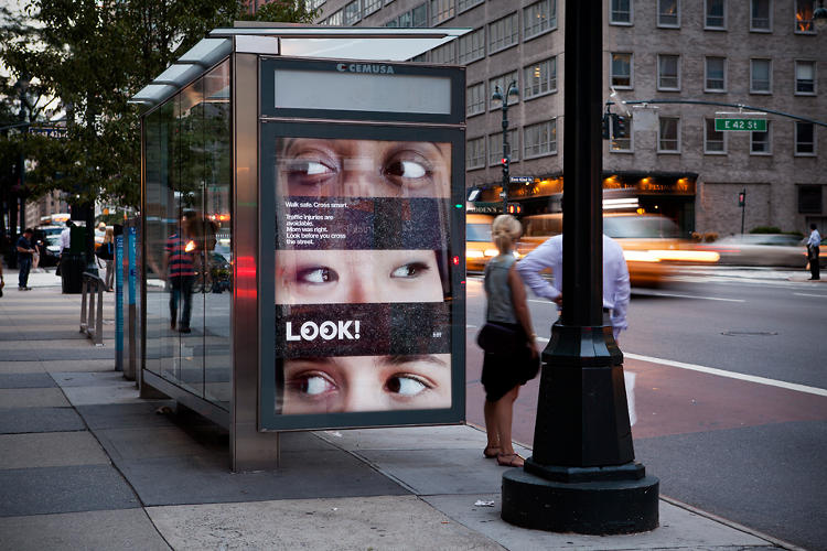 <p>The ads feature the eyes of Pentagram and DOT employees, &quot;looking both ways.&quot;</p>
