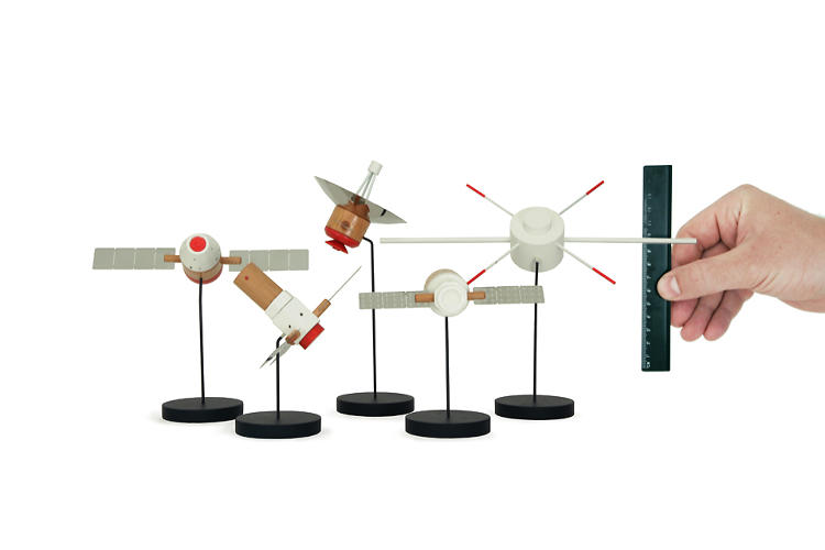 <p>The full line of the Papafoxtrot Space Series. Each piece is modeled after a real satellite.</p>