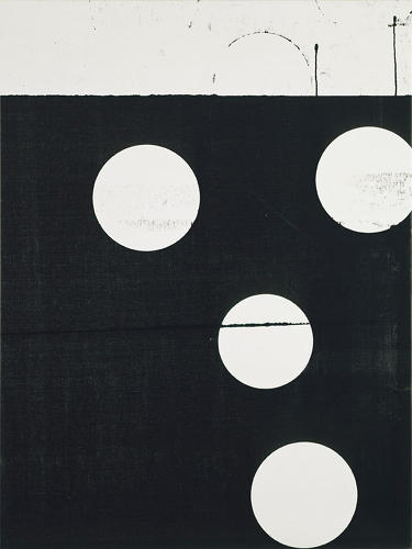 <p><em>Untitled</em> (2006). Guyton nearly obscures the contents of the image he began with, punctuating the black field with apertures that call attention to how we glean meaning and value from images.</p>