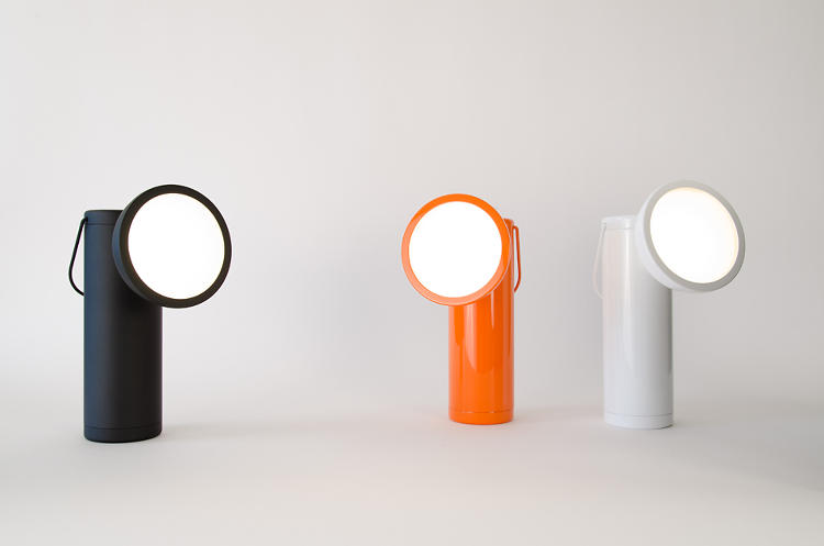 <p>The M Lamp comes in matte black, glossy white, or bright orange.</p>