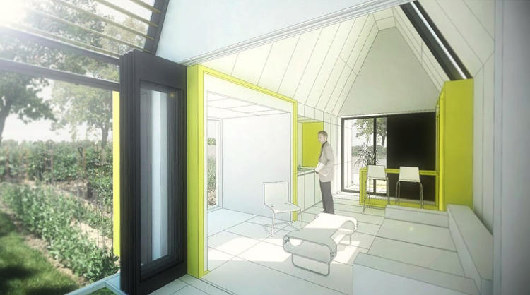 <p>Along with their proposal for &quot;alley residences,&quot; the team submitted a design for a modular home, which at 800 square feet, would cost about as much as a new car.</p>