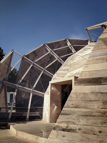 <p>It was designed by two young Danish architects, Kristoffer Tejlgaard and Benny Jepsen, who built a similar dome at the 2011 Roskilde Festival.</p>