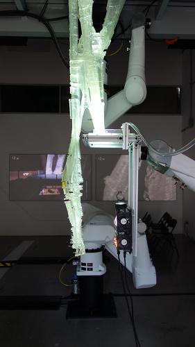 <p>One robotic arm holds a bed filled with UV-sensitive resin.</p>