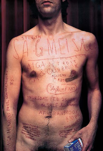 <p><em>Sagmeister</em> (1999), designed by Stefan Sagmeister, is a self-promotion piece for the AIGA. Sagmeister had his intern scratch the details onto his chest. He said for months afterward he had scarring that would show up under a tan!</p>