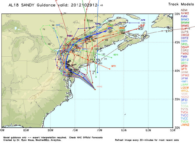 <p>No one knows for sure exactly what Sandy's path will end up being--but this map of possible approaches from WeatherBell illustrates a few possible routes.</p>