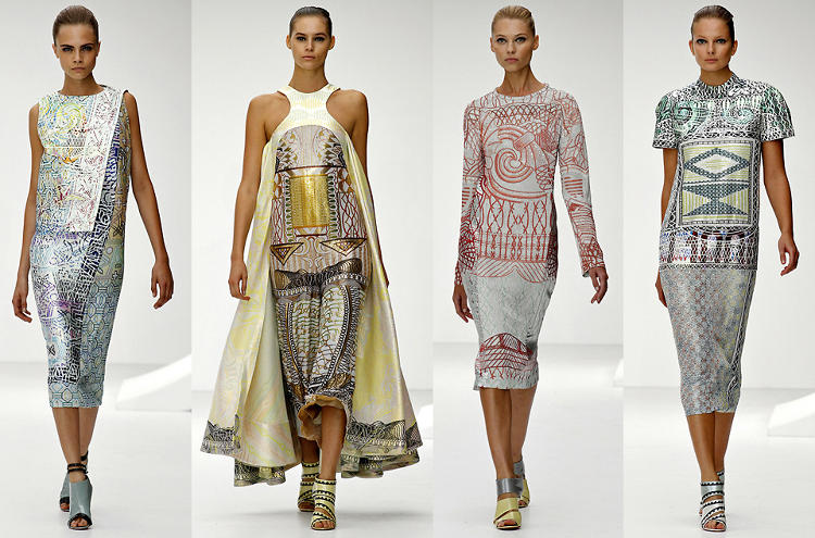 <p>Mary Katrantzou's 2013 Ready to Wear collection featured iconography lifted from stamps and currency.</p>