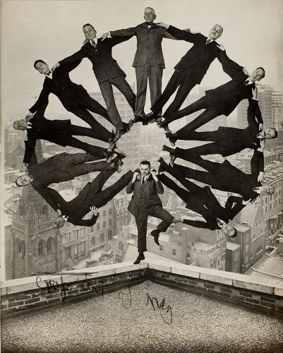 <p>Unidentified American artist, <em>Man on Rooftop with Eleven Men in Formation on His Shoulders</em>, 1930.</p>