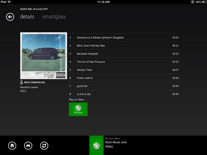 <p>Xbox Music puts all the lists on your tablet, freeing your television to feature big, beautiful album/artist art during playback.</p>