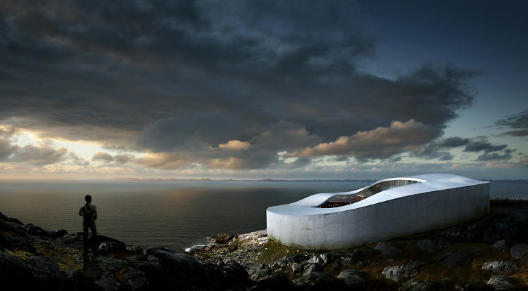 <p>Bjarke Ingels Group's design for Greenland's National Gallery takes the form of a melting ring that follows the site's natural slope, much like a glacier or drifting snow.</p>