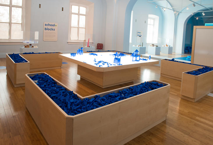 <p>At the beginning of the day, miniature pieces of blue foam components sit in troughs in the Museum's galleries.</p>