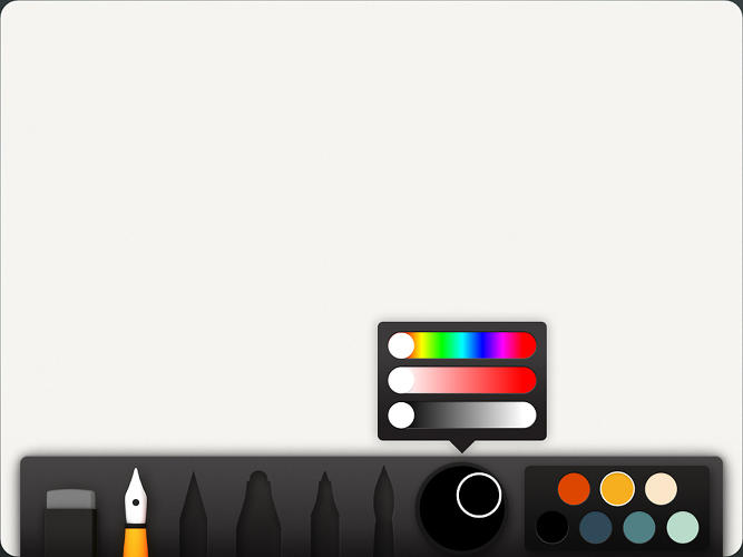 <p>For more custom colors, you can tap on the Mixer to reveal more traditional HSB sliders.</p>