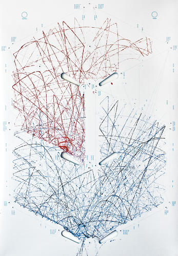 <p>Before the game, played on a paper board, the ball is dipped in a special mixture of ink. The result is a Pollock-esque mess of lines.</p>
