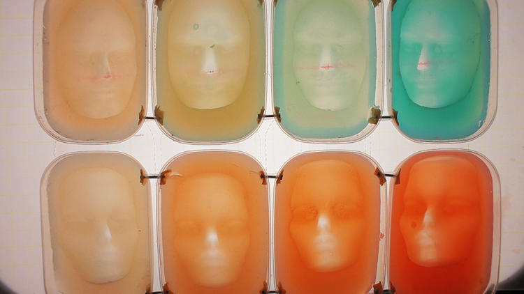 <p>Some of the human faces, which McRae made with molded agar agar, which is made from natural seaweed.</p>
