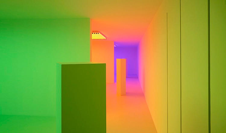 <p>Each of the three rooms is coated in pure red, green, or blue light.</p>