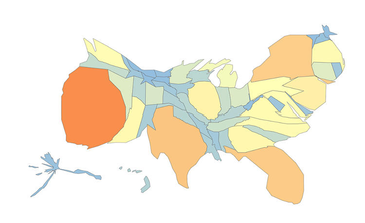 <p>Here's the cartogram for immigration, which shows California, Texas, Florida, and New York leading the way.</p>