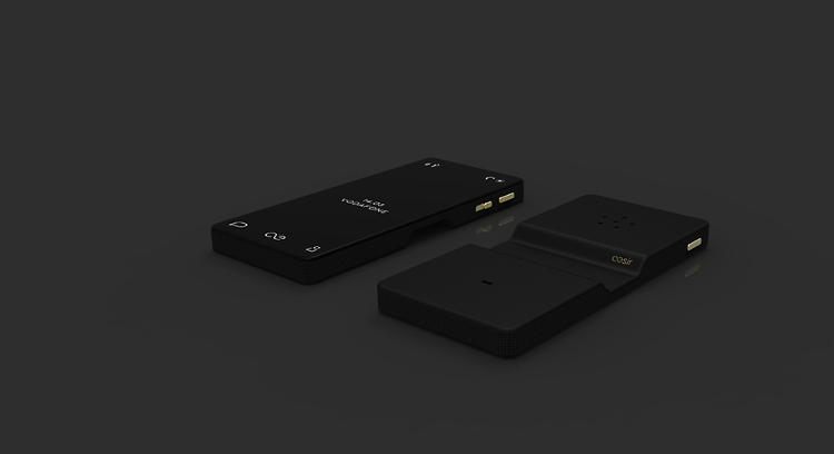 <p>The radical design mimics old-school phone recievers--and puts the touchscreen on the <em>back</em> of the phone, away from the face.</p>
