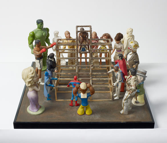<p>While his sculptures often consist of crowds of found toys and action figures.</p>