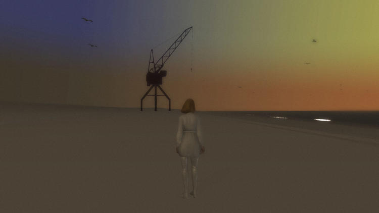 <p>From there you're transported to an alien beach, populated only by a few benches, a single building, and the occasional apparition, like the crane above.</p>