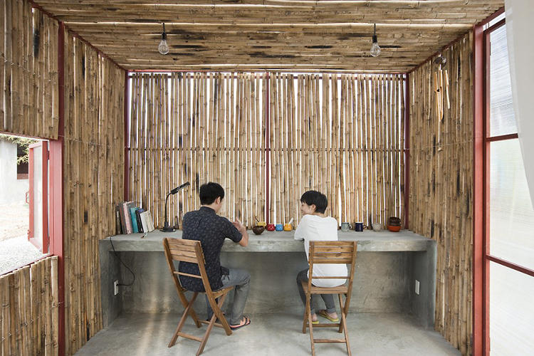 <p>The lightweight home features an envelope of transparent fiber-reinforced plastic, which lets in natural light through a series of bamboo louvres.</p>