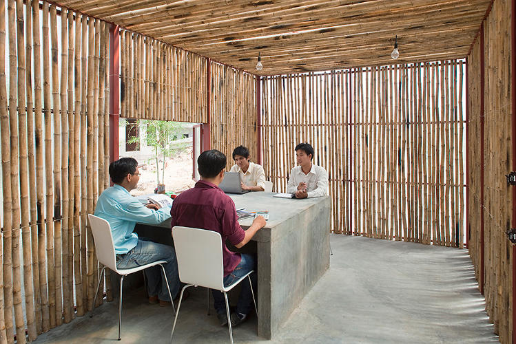 <p>Built-in windows and simple tables make the one-room buildings multi-functional.</p>