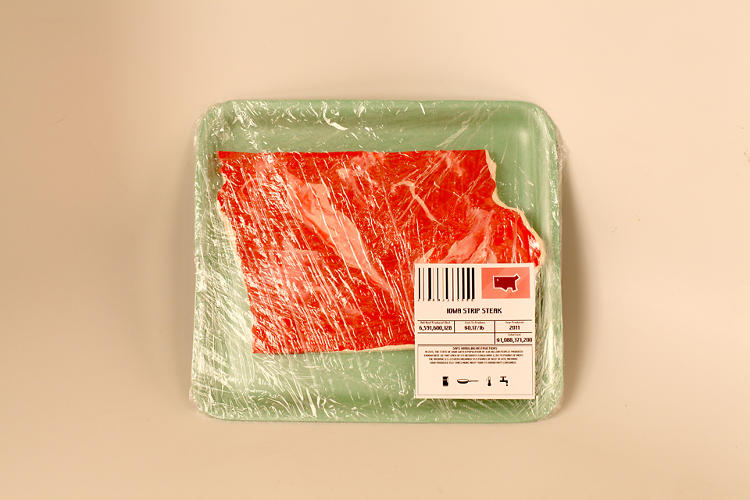 <p>It's not real meat, the beef is actually just modeling clay. But the styrofoam and shrink wrap are the real deal.</p>