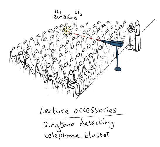 <p>A device that shames lecture attendees with loud cell phones is one of hundreds of sketches in a new book by Dominic Wilcox.</p>