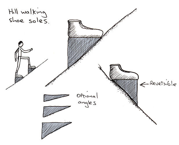 <p>Shoes that making climbing a slope more natural.</p>
