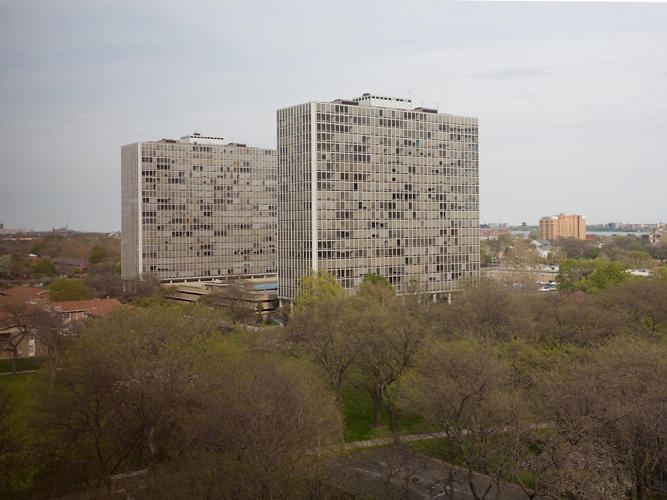 <p>Lafayette Towers, two high rises in the synonymous community designed by Mies van der Rohe in 1962, are part of a fascinating book about the development and its residents called <em>Thanks for the View, Mr. Mies</em>.</p>