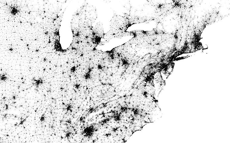 <p><a href=&quot;http://bmander.com/dotmap/index.html&quot; target=&quot;_blank&quot;>This dot map</a>, by MIT grad student Brandon Martin-Anderson, shows every person in the U.S. and Canada, with one dot per person.</p>