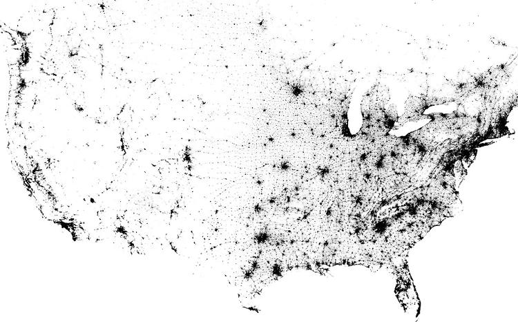<p>The drop-off in population density as you move from east to west is more pronounced than you'd think.</p>