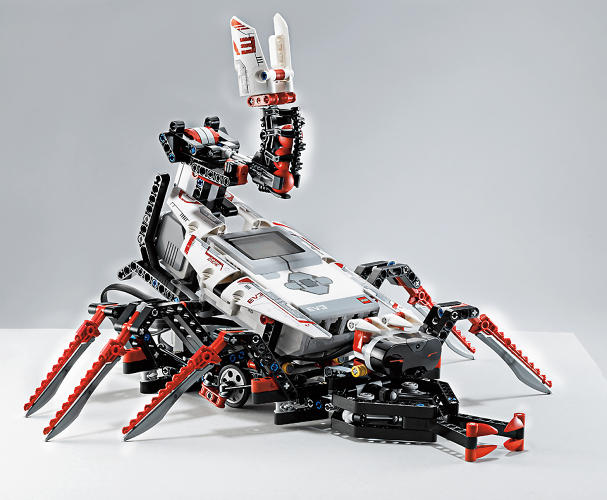 <p>But Mindstorms itself is being sold through the framework of five characters, like a scorpion. Look closely, and you'll see balls lodged in the scorpion's tail--they can be launched on command, and fly with surprising velocity.</p>