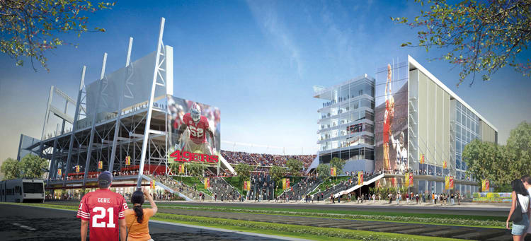 <p>The NFL team's new Santa Clara stadium, set to open in 2014, will give fans access to data they've never had before while in their seats, including apps to view multiple camera angles of replays, listen to radio feeds, check stadium traffic, order food, and even scout the bathroom lines.</p>
