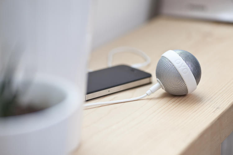 <p>Burnhard | Burkhard's Ballo speaker needs no stand or solid surface to sit on--it plugs straight into your smartphone and can roll around anywhere.</p>