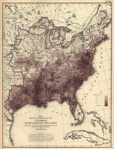 <p>Walker then mapped subgroups to showcase patterns of settlement and migration. Here is the first map of African-Americans after slavery, set against the contours of the general population (in blue ink).</p>