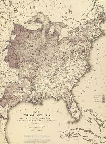 <p>On this map, shading indicates areas where men outnumbered women, which is particularly evident west of the Appalachian Range. Notice the opposite ratio in the southeast, where women almost uniformly outnumbered men.</p>