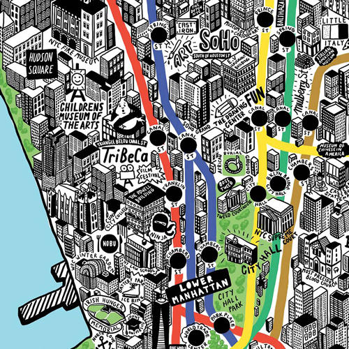 <p>A detail of the West Village and TriBeCa includes the eponymous film festival.</p>
