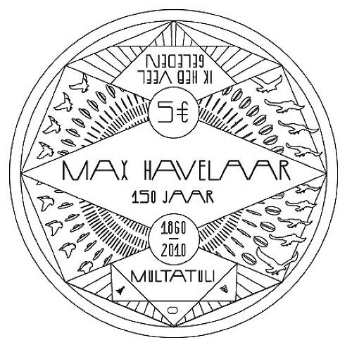 <p><a href=&quot;http://www.roosjeklap.nl/&quot; target=&quot;_blank&quot;>Roosje Klap</a>'s (unrealized) coin design in celebration of <a href=&quot;http://www.maxhavelaar.com/&quot; target=&quot;_blank&quot;>Max Kavelaar</a>'s 150th year is jam-packed with graphic symbolism and geometric elements.</p>