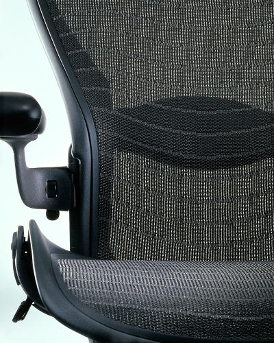 <p>… the idea being that the mesh fabric would prevent pressure points that caused heat build-up and long-term discomfort for highly sedentary office workers. Don Chadwich, a prodigy of materials design, worked directly with manufacturers to invent a fabric capable of bearing such loads.</p>