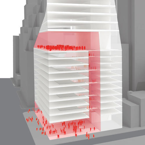<p>A thin vertical atrium traces through the first 15 floors of the building, connecting the lobby to a public atrium above.</p>