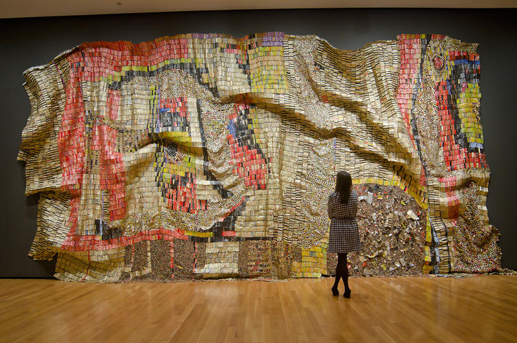 <p><em>Earth's Skin</em>, from 2007, is an El Anatsui sculpture on view at Brooklyn Museum this spring.</p>