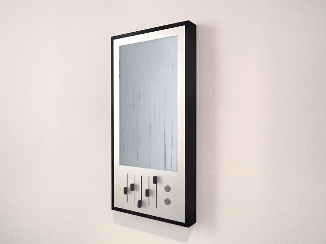 <p>Rain, a piece of software that generates images streaking vertical lines, is currently being exhibited at Kunsthaus Graz in Austria. One of the forms it takes is this sleek enclosure.</p>