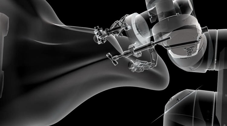 <p>The second half of the video shows the robotic arms interacting with digital materials and virtual models.</p>